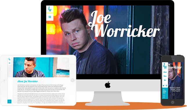 JoeWorricker.com - desktop and responsive mobile views